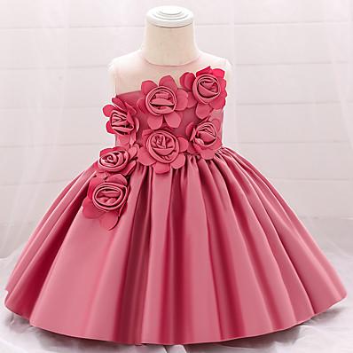 cheap Kids-Baby Girls' Basic Solid Colored White Layered Mesh Sleeveless Dress Knee-length Blushing Pink Wine Green