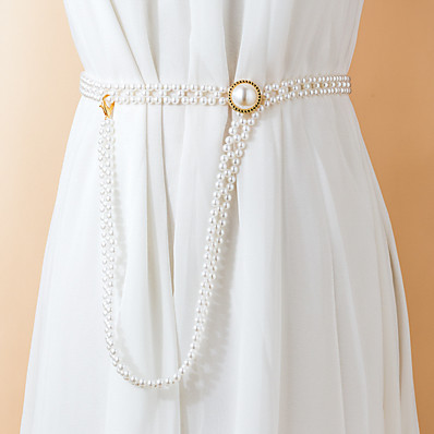 cheap Accessories-Women's Chain Daily Date Dress Silver Belt Solid Colored / Party / Imitation Pearl / Alloy