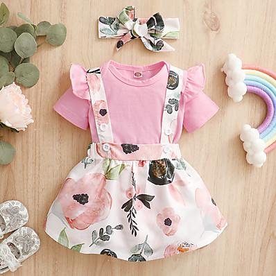 cheap Baby & Toddler Girl-3-Piece Baby Girls' Active Floral Print Short Sleeve Regular Clothing Set Blushing Pink