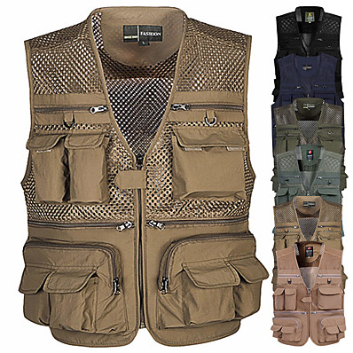 cheap Fishing-Men's Fishing Vest With Multi Pockets Outdoor Work Safari Vest Lightweight Quick Dry for Hunting Hiking Traveling Photograghy