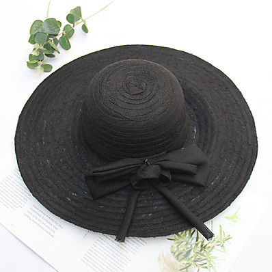 cheap Accessories-Women's Straw Hat Jacquard Bow Party Wedding Street Black Gray Pure Color Hat / Spring / Beach