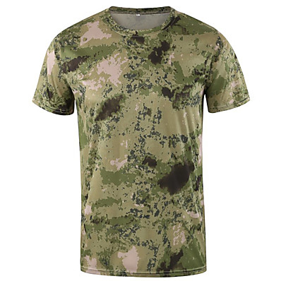 cheap Hunting & Nature-Men's Sweatshirt Hiking Tee shirt Hunting T-shirt Tee shirt Camo Short Sleeve Outdoor Spring Summer Quick Dry Breathable Soft Sweat wicking Top Nylon Cotton Camping / Hiking Hunting Fishing Casual