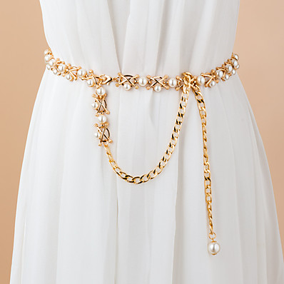 cheap Accessories-Women's Chain Party Dress Club Gold Belt Solid Colored / Imitation Pearl / Winter / Spring / Vintage / Alloy