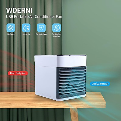 cheap Smart Home-Home Mini Air Conditioner Portable Air Cooler 7 Colors LED USB Personal Space Cooler Fan Air Cooling Fan Rechargeable Fan Desk Evaporative Portable Air Conditioner