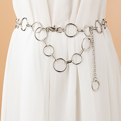 cheap Accessories-Women's Chain Traveling Vacation Dress White Belt Solid Colored / Party / Alloy