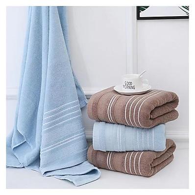 cheap Home Textiles-2PCS New Solid Color Stripe Thick 100% Cotton Jacquard Bath Towel Soft Absorbent Cotton Towel Unisex