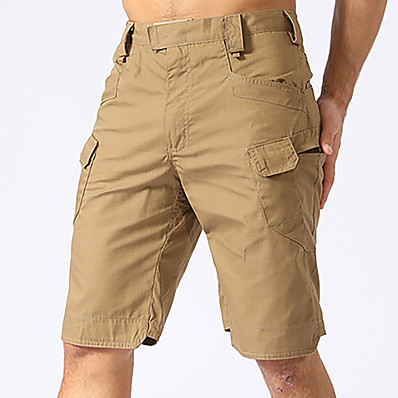 cheap Hunting & Nature-Men's Cargo Shorts Hiking Cargo Shorts Hiking Shorts Summer Quick Dry Breathable Sweat wicking Wear Resistance Solid Colored Bottoms for Camping / Hiking Hunting Fishing Dark Khaki CP camouflage