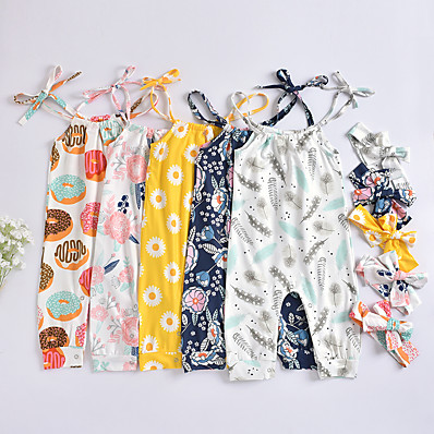cheap Baby & Toddler Girl-Baby Girls' Active Floral Print Sleeveless Romper White Red Yellow