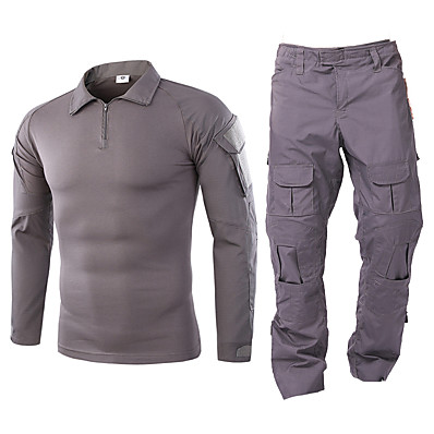 cheap Hunting & Nature-Men's Hiking Shirt with Pants Hunting Suit Tactical Military Shirt Outdoor Autumn / Fall Spring Summer Multi-Pockets Quick Dry Breathable Wearproof Clothing Suit Camo / Camouflage Long Sleeve