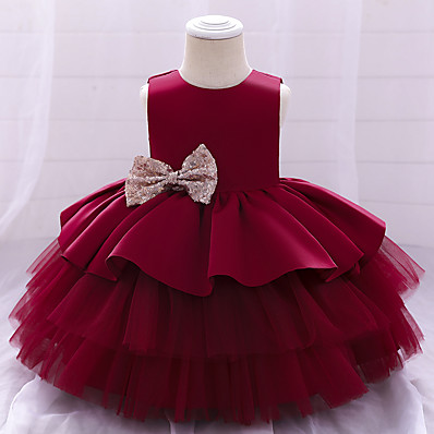 cheap Baby & Toddler Girl-Baby Girls' Active Streetwear Christening Solid Colored Layered Mesh Bow Sleeveless Dress Above Knee Blue Blushing Pink Wine