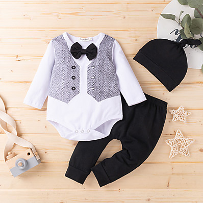 cheap Baby & Toddler Boy-Baby Boys' Basic Solid Colored Bow Long Sleeve Regular Clothing Set White