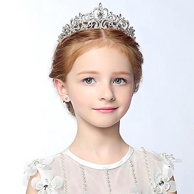 お買い得  子供用アクセサリー-1pcsキッズ/幼児の女の子 '子供の頭飾り子供の王冠の頭飾りリースラインストーンヘッドバンド、子供のショー、女の子の誕生日、ヘアアクセサリー、春と夏の新しい