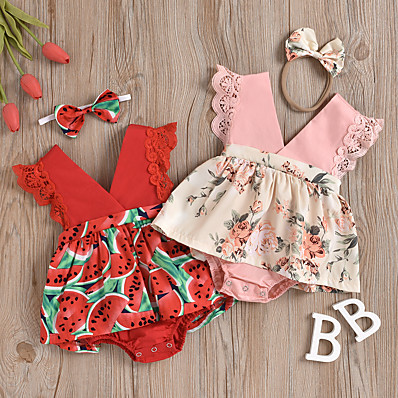 cheap Baby & Toddler Girl-Baby Girls' Active Floral Print Sleeveless Romper Blushing Pink Red