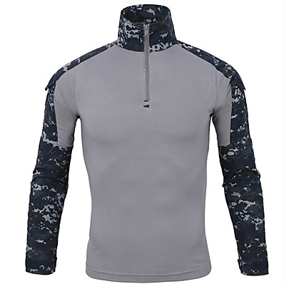 cheap Hunting & Nature-Men's Camo Solid Colored Hunting T-shirt Tee shirt Camouflage Hunting T-shirt Tactical Military Shirt Long Sleeve Outdoor Fast Dry Quick Dry Breathable Outdoor Spring Summer Cotton Top Camping