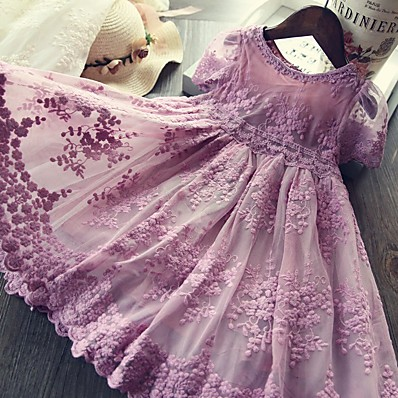 cheap Kids-Kids Little Girls' Dress Lace Solid Colored Embroidered Mesh White Purple Gray Knee-length Short Sleeve Active Cute Dresses 2-8 Years