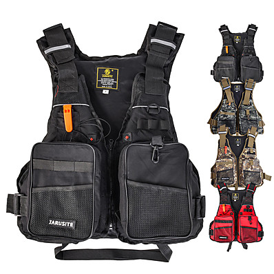 cheap Fishing-Men's Life Jacket Fly Fishing Vest Outdoor Reflective Strips Adjustable Size Multi-Pockets Life Vest / Gilet Autumn / Fall Spring Summer Sports & Outdoor Fishing Black/Yellow/Red