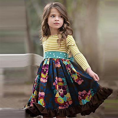 cheap Girls' Clothing-Kids Little Dress Girls' Floral Navy Blue Knee-length Cotton Long Sleeve Cute Dresses Regular Fit
