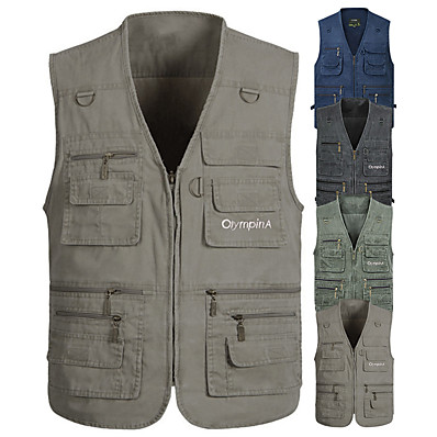 cheap Fishing-Men's Fishing Vest with Multi Pockets Work Vest Outdoor Utility Breathable Vest for Fishing Camping / Hiking / Caving Traveling Photo Journalist
