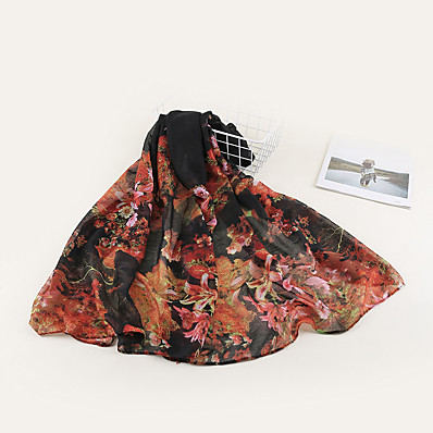 cheap Accessories-Women's Chiffon Scarf Black Holiday Scarf Floral / Color Block / Polyester