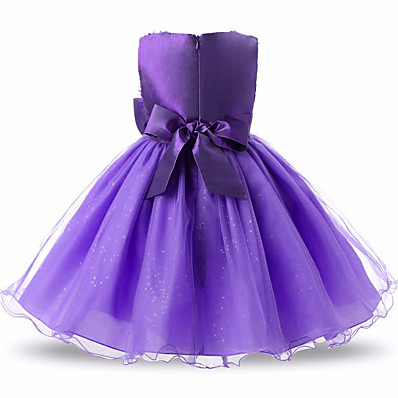 cheap Kids-Kids Toddler Little Girls' Dress Solid Colored Tulle Dress Flower Party Prom Floral Bow Blue Purple Blushing Pink Mesh Lace Tulle Above Knee Sleeveless Active Sweet Dresses 2-12 Years