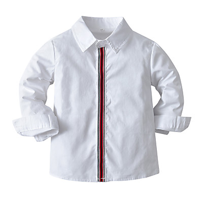 cheap Baby & Toddler Boy-Toddler Boys' Shirt Long Sleeve Solid Colored Crewneck White Children Tops Spring &  Fall Casual / Daily Daily Wear Vacation Loose 1-5 Years