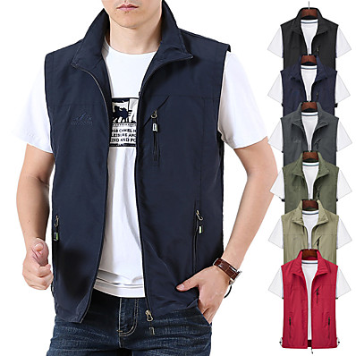 cheap Camping, Hiking & Backpacking-Men's Hiking Vest / Gilet Fishing Vest Sleeveless Jacket Zip Top Outdoor Waterproof Windproof Ultra Light (UL) Quick Dry Spring Summer Back Venting Design Chinlon Solid Color Red Army Green Grey
