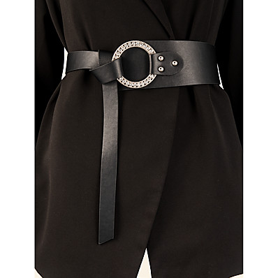 cheap Accessories-Women's Wide Belt Street Vacation Dress Black Belt Solid Colored / Winter / Spring / Summer