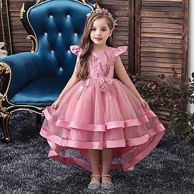 cheap Kids-Kids Little Girls' Dress Solid Colored Layered Dress Wedding Party Beaded Embroidered Layered Blushing Pink Wine Khaki Asymmetrical Short Sleeve Active Sweet Dresses New Year Slim 3-12 Years