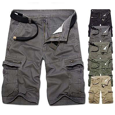 cheap Hunting & Nature-Men's Belted Cargo Shorts Hiking Shorts Tactical Shorts Summer Multi-Pockets Breathable Quick Dry Sweat wicking Cotton Solid Colored Bottoms for Camping / Hiking Hunting Combat Army Green Grey Khaki