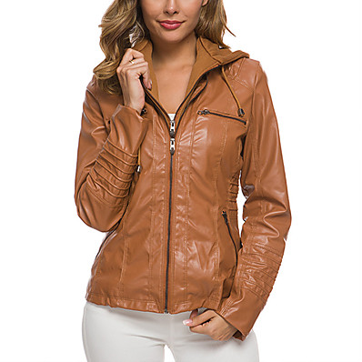cheap Valentine's Gifts-Women's Jacket Spring &  Fall Street Shopping Holiday Regular Coat V Neck Slim Fit Chic & Modern Jacket Long Sleeve Modern Style Solid Color Camel Apricot White