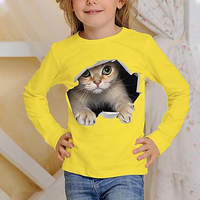 cheap Kids-Kids Boys' Girls' T shirt Tee Long Sleeve Yellow Orange 3D Print Cat Print Animal Daily Wear Active 4-12 Years / Fall