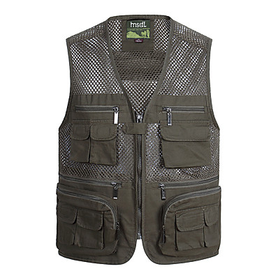 cheap Hunting & Nature-Men's Hunting Gilet Outdoor Spring Summer Multi-Pockets Wearable Breathable Comfortable Solid Colored Cotton Army Green Khaki