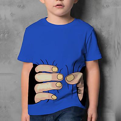 cheap Kids-Kids Boys' T shirt Short Sleeve 3D Print Graphic Print Blue White Children Tops Summer Funny Daily Wear Regular Fit 4-12 Years