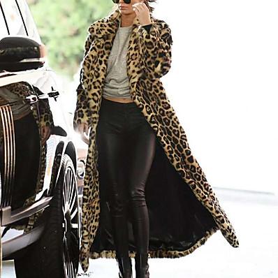 cheap Valentine's Gifts-Women's Faux Fur Coat Fall Winter Street Daily Date Maxi Coat Warm Regular Fit Chic & Modern Sexy Jacket Long Sleeve Leopard Print Leopard Print Khaki