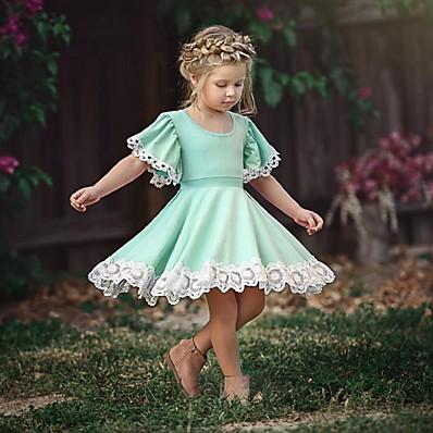 hesapli ÇOCUK-çocuklar için küçük kızların elbisesi nedensel çiçek dantel düz renk parti okulu mor kızarma pembe yeşil kısa kollu sevimli tatlı elbiseler yaz 2-12 yıl