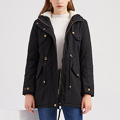 cheap Valentine's Gifts-Women's Padded Long Coat Regular Fit Jacket Solid Colored Blushing Pink Green Black / Cotton