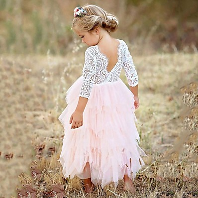 cheap Girls' Clothing-Kids Little Girls' Pink Party Princess Flower Lace Scalloped Tulle Back Backless Tutu Top Edges Tiered Girl Dress