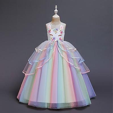 cheap Kids-Kids Little Girls' Dress Unicorn Rainbow Costume Party Princess Flower Color Block Tulle Dress Birthday Layered Ruffled White Blushing Pink Maxi Sleeveless Princess Sweet Dresses 3-12 Years