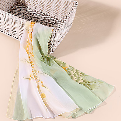 cheap Accessories-Women's Chiffon Scarf Holiday Multi-color Scarf Color Block