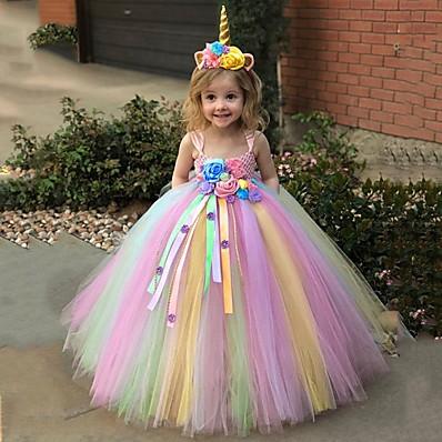hesapli ÇOCUK-çocuklar yürümeye başlayan küçük kızların elbisesi tek boynuzlu at gökkuşağı tutu çiçekli parti prenses elbiseleri doğum günü tül örgü mavi mor kızarma pembe maxi kolsuz tatlı elbiseler 3-12 yıl