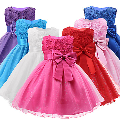 cheap Kids-Toddler Little Girls' Dress Flower Tulle Dress Party Layered Bow White Purple Watermelon Sleeveless Princess Sweet Dresses Fall Spring Slim 2-12 Years