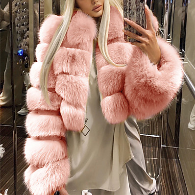 cheap Valentine's Gifts-Women's Fur Coat Fall & Winter Wedding Daily Short Coat Warm Loose Basic Jacket Long Sleeve Solid Colored Blue Blushing Pink Wine