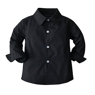 cheap Baby & Toddler Boy-Kids Toddler Boys' Shirt Blouse Long Sleeve Solid Colored Black Children Tops All Seasons Basic Casual / Daily Casual Daily Children's Day Standard Fit 2-8 Years