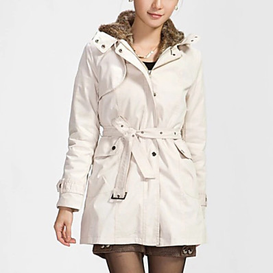 cheap Valentine's Gifts-Women's Parka Fall Winter Spring Shopping Causal Holiday Long Coat Casual Jacket Long Sleeve Zipper Lace Solid Color ArmyGreen White Black