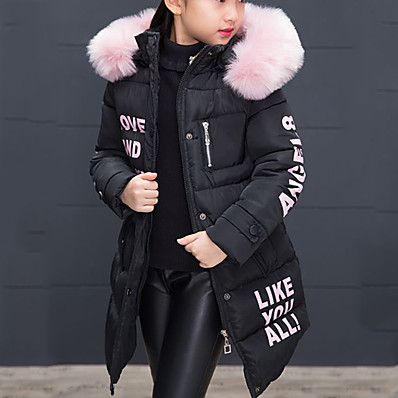 cheap Girls' Clothing-Kids Girls' Down & Cotton Padded Jacket & Coat Trench Coat Blushing Pink Black Red Fur Zipper Pocket Print Letter Going out Outdoor Cotton Basic Keep Warm 4-12 Years