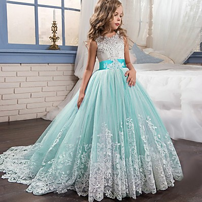 cheap Girls' Clothing-Kids Little Girls' Dress Lace Floral Princess Party Formal Evening Wedding Pageant Embroidery Bow White Purple Red Tulle Maxi Sleeveless Elegant Vintage Ball Gown Dresses Fit 4-13 Years