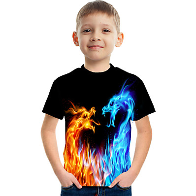 cheap Boys' Clothing-Kids Boys' T shirt Tee Short Sleeve Dragon 3D Print Graphic Flame Animal Blue Yellow Red Children Tops Summer Active Novelty Streetwear Causal Easter 3-12 Years