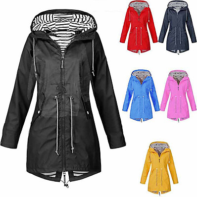 hesapli Avcılık ve Doğa-Kadın yağmurluk katı su geçirmez ve rüzgar geçirmez dış mekan artı boyutu kapüşonlu yağmurluk parka kışlık ceket klgda kırmızı