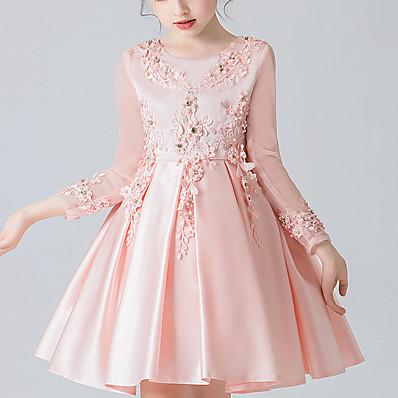 cheap Kids-Kids Little Girls' Dress Floral Bow Blushing Pink White Red Maxi Long Sleeve Cute Sweet Dresses Children's Day Regular Fit