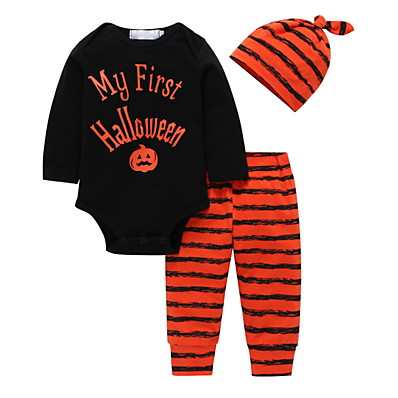 cheap Baby & Toddler Boy-3 Pieces Baby Boys' Cotton Halloween Striped Print Letter Print Regular Long Sleeve Clothing Set Black / Fall